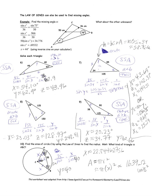 HW 12914 Math with Ms Roach – Law of Sines Worksheet